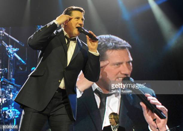 Tony Hadley of Spandau Ballet performs as part of their comeback tour at the O2 Arena on October 20 2009 in London England