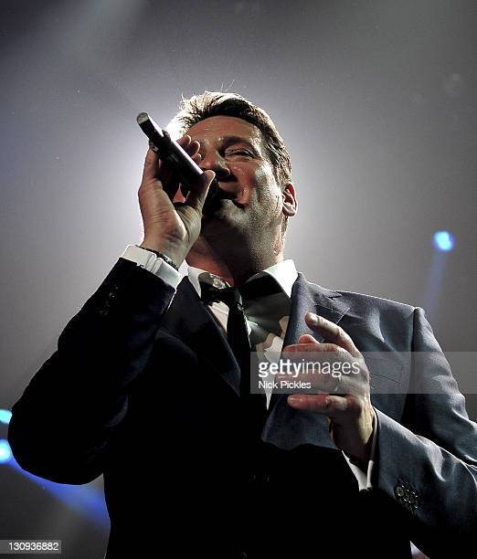 Tony Hadley of Spandau Ballet performs in concert at Sheffield Arena on October 16 2009 in Sheffield England