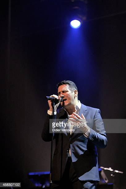 Tony Hadley of Spandau Ballet performs on stage after the screening of the the 'Soul Boys of the Western World' documentary on October 23 2014 in...