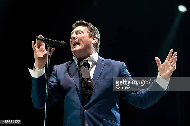 Tony Hadley of Spandau Ballet performs on stage at The O2 Arena on March 17 2015 in London United Kingdom
