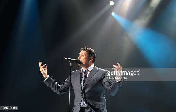 Tony Hadley of Spandau Ballet performs on stage during their concert at the Sydney Entertainment Centre on April 23 2010 in Sydney Australia