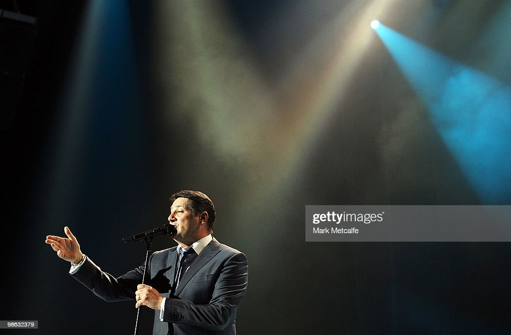 Tony Hadley of Spandau Ballet performs on stage during their concert at the Sydney Entertainment Centre on April 23, 2010 in Sydney, Australia.