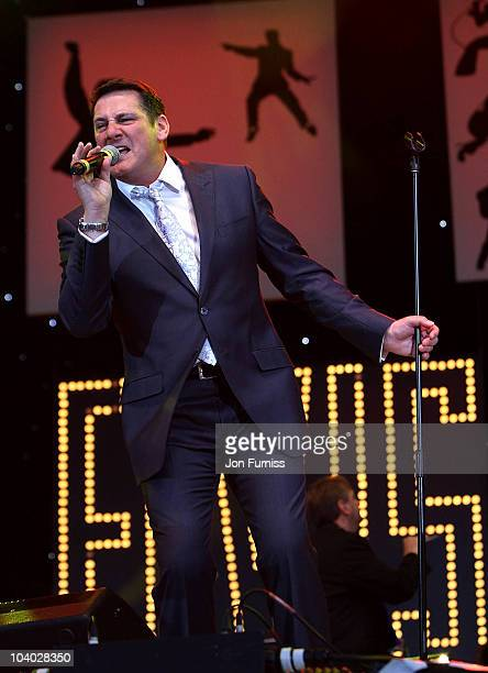 Tony Hadley performs at the BBC Radio 2 Elvis Forever concert at Hyde Park on September 12 2010 in London England The gig celebrates the music of...
