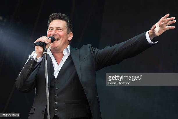 Tony Hadley performs with the Southbank Sinfonia at Rewind South at Temple Island Meadows on August 20 2016 in HenleyonThames England