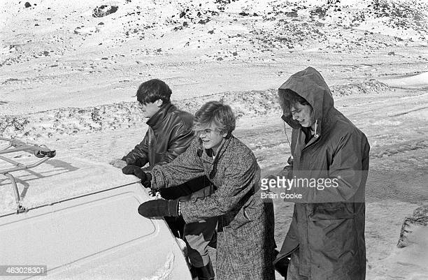 LR Tony Hadley Steve Norman and Martin Kemp of Spandau Ballet photographed on location in the Kirkstone Pass Lake District Cumbria during the...