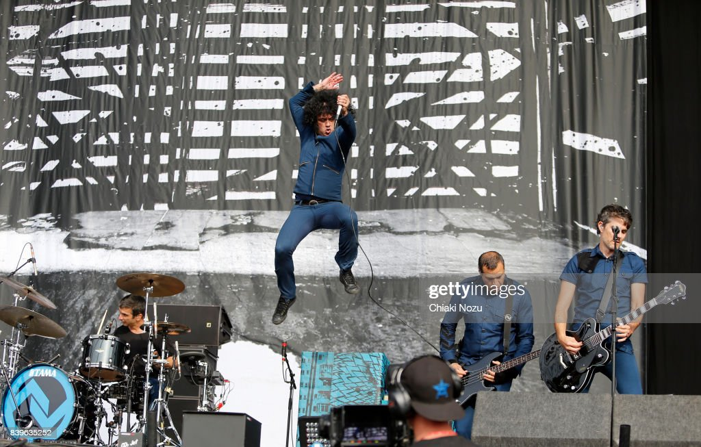 Tony Hajjar, Cedric Bixler and Paul Hinojos of At The Drive In perform at Reading Festival at Richfield Avenue on August 26, 2017 in Reading, England.