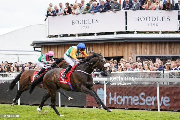 Tony Hamilton riding Forest Ranger win The Homeserve Huxley Stakes at Chester Racecourse on May 11 2018 in Chester United Kingdom