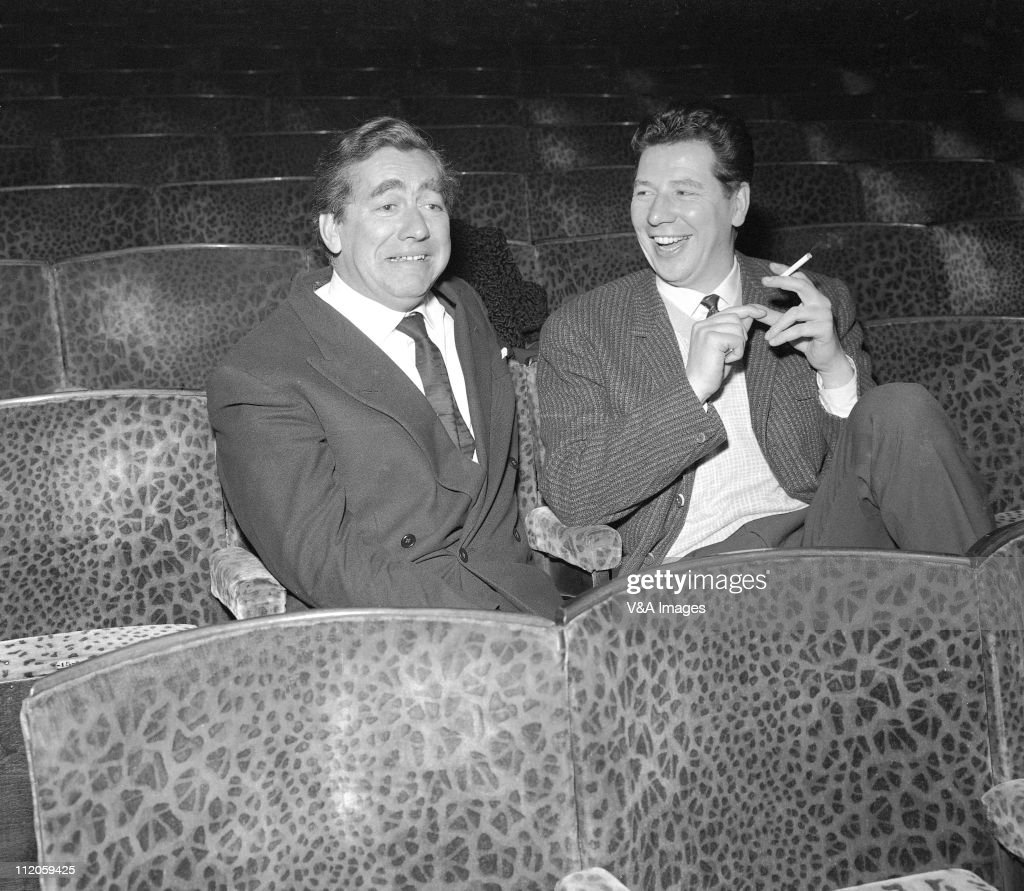 Tony Hancock, posed, with Max Bygraves, 1958.