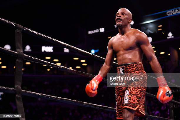 Tony Harrison reacts after finishing the final round of his WBC Super Welterweight Championship bout at Barclays Center on December 22 2018 in the...
