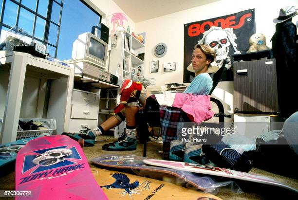 Tony Hawk 18 years old sits in his home and lives with his parents in his back yard which he built for his friends and himself In 1986 he was making...