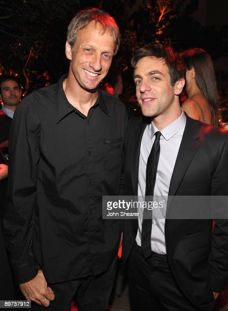 Tony Hawk and actor BJ Novak attend the Weinstein Co Presents Inglourious Basterds after party at the Mondrian Hotel on August 10 2009 in West...