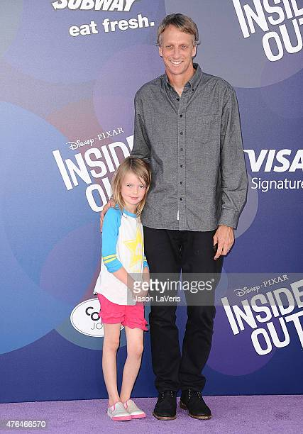 Tony Hawk and daughter Kadence Clover Hawk attend the premiere of Inside Out at the El Capitan Theatre on June 8 2015 in Hollywood California
