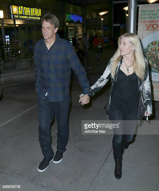 Tony Hawk and Erin Lee are seen on June14 2016 in Los Angeles California