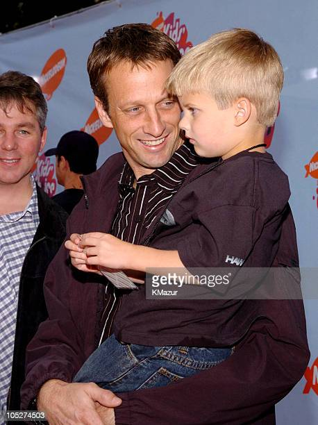 Tony Hawk and family during Nickelodeon's 17th Annual Kids' Choice Awards Orange Carpet at Pauley Pavillion in Westwood California United States