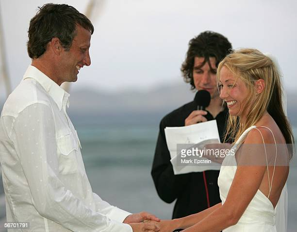 Tony Hawk and Lhotse Merriam are read their wedding vows at their wedding ceremony January 12 2006 on the Island of Tavarua in Fiji