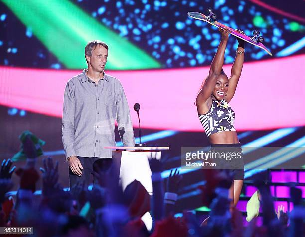 Tony Hawk and Sloane Stephens speak onstage during the Nickelodeon Kids' Choice Sports Awards 2014 held at Pauley Pavilion on July 17, 2014 in Los...