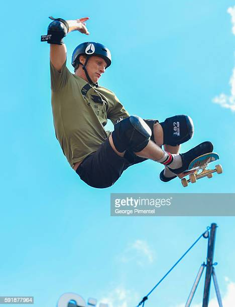 Tony Hawk attends the launch of the Tony Hawk Signature Collection Exclusively At Walmart Canada at YongeDundas Square on August 18 2016 in Toronto...