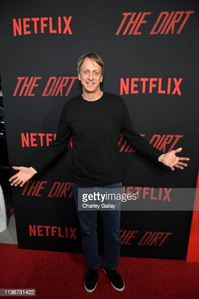 Tony Hawk attends the premiere of Netflix's 'The Dirt at the Arclight Hollywood on March 18 2019 in Hollywood California