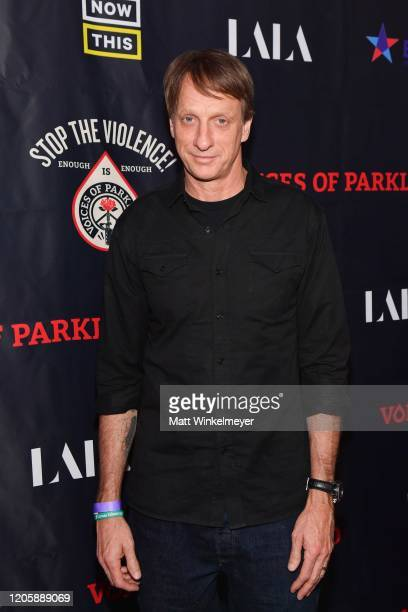 Tony Hawk attends the LA Premiere Of Voices Of Parkland at Theatre at the Ace Hotel on February 12 2020 in Los Angeles California