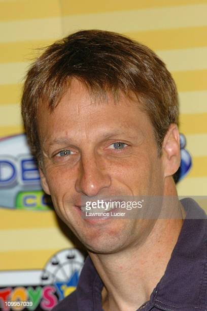 Tony Hawk during Hilary Duff and Tony Hawk Introduce Hasbro's Videonow Color Personal Player at Toys R Us in New York City New York United States