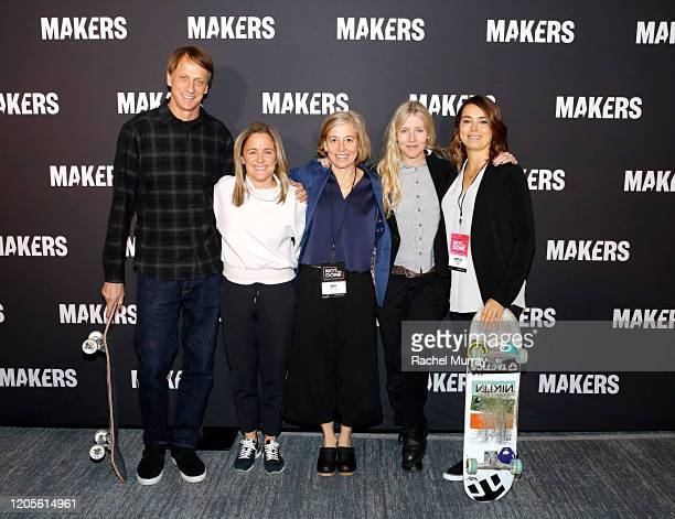 Tony Hawk Founder Executive Producer of MAKERS Dyllan McGee Amy Richards Cathy Goodman and CoFounder of Exposure Skate Amelia Brodka attend The 2020...