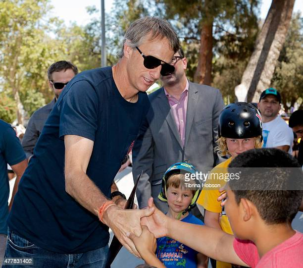 Tony Hawk greets his fans at a ribboncutting ceremony at Lanark Plaza hosted by Tony Hawk And City Councilman Bob Blumenfield on June 19 2015 in...