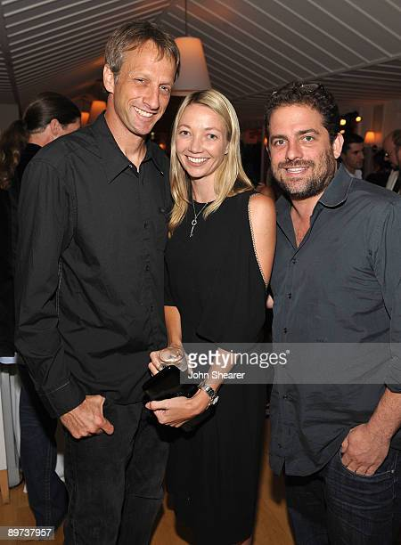 Tony Hawk guest and Brett Ratner attend the Weinstein Co Presents Inglourious Basterds after party at the Mondrian Hotel on August 10 2009 in West...