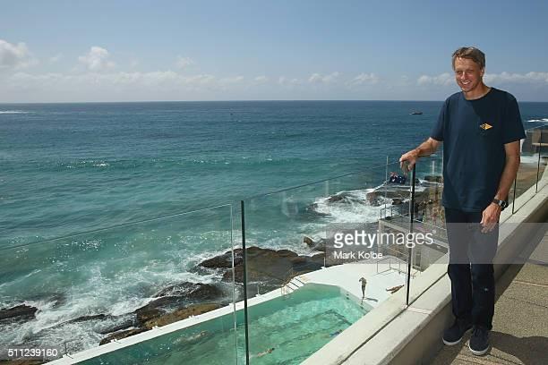 Tony Hawk poses after a press conference at ahead of BowlARama at Bondi Beach on February 19 2016 in Sydney Australia