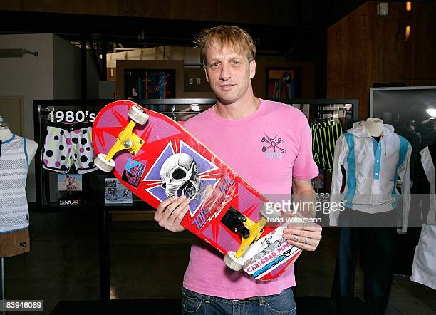 Tony Hawk poses at the Quiksilver Tony Hawk All 80s All Day Vert Challenge at Quiksilver on December 6 2008 in Huntington Beach California