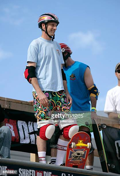 Tony Hawk skates at the Quiksilver Tony Hawk All 80s All Day Vert Challenge at Quiksilver on December 6 2008 in Huntington Beach California
