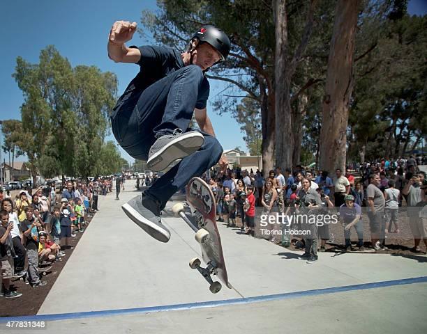 Tony Hawk skates at the ribboncutting ceremony at Lanark Plaza hosted by Tony Hawk And City Councilman Bob Blumenfield on June 19 2015 in Canoga Park...