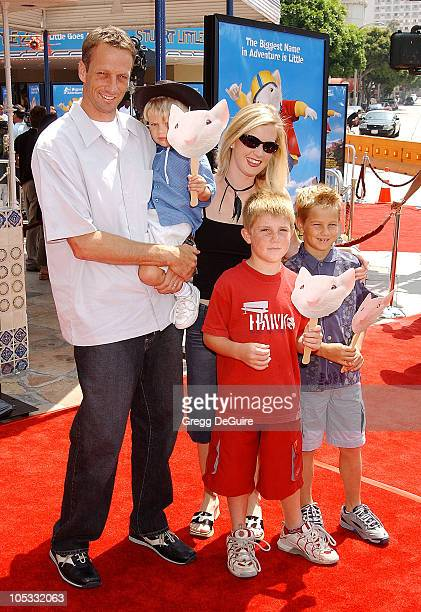 Tony Hawk wife Erin sons Spencer Ryan Riley during Stuart Little 2 Premiere at Mann Village Theatre in Westwood California United States