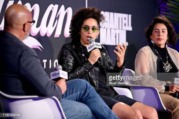 Tony Hernandez Shantell Martin and Muriel Parra speak onstage during HBO's Human By Orientation panel at Art Basel Miami at Rubell Family Collection...