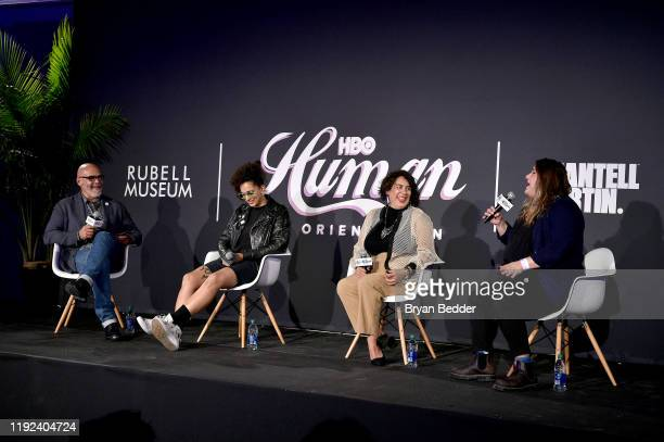 Tony Hernandez Shantell Martin Muriel Parra and Sarah Graalman speak onstage during HBO's Human By Orientation panel at Art Basel Miami at Rubell...