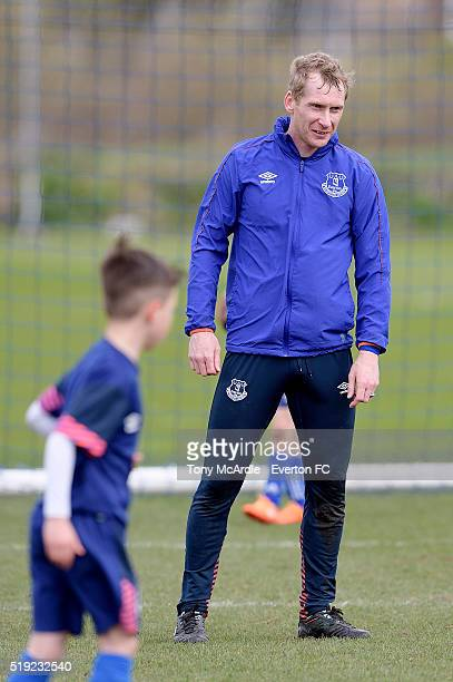 Tony Hibbert during the joint Everton academy and first team training session at Finch Farm on April 5, 2016 in Halewood, England.