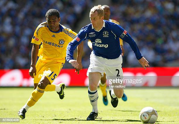 Tony Hibbert of Everton and Florent Malouda of Chelsea during the FA Cup Final between Everton and Chelsea at Wembley Stadium in London UK