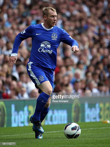 Tony Hibbert of Everton during the Barclays Premier League match between West Bromwich Albion and Everton at The Hawthorns on September 1, 2012 in...