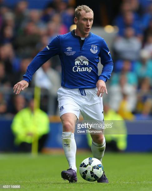 Tony Hibbert of Everton during the Pre-Season Friendly between Everton and Porto at Goodison Park on August 3, 2014 in Liverpool, England.