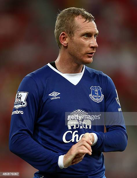 Tony Hibbert of Everton in action during the Barclays Asia Trophy match between Everton and Stoke City at National Stadium on July 15, 2015 in...