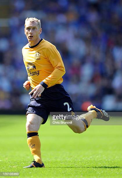 Tony Hibbert of Everton in action during the pre season friendly between Birmingham City and Everton at St Andrews on July 30, 2011 in Birmingham,...