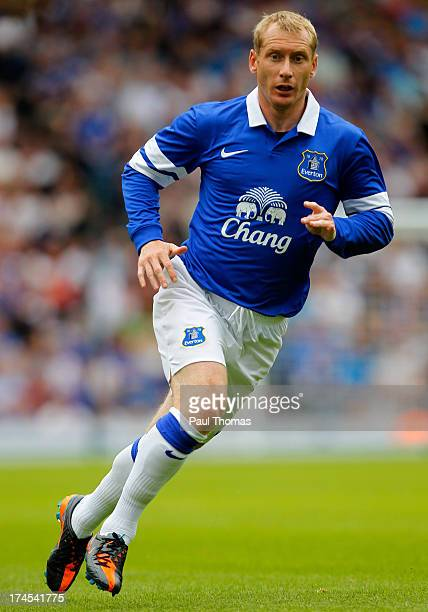 Tony Hibbert of Everton in action during the Pre Season Friendly match between Blackburn Rovers and Everton FC at Ewood Park on July 27, 2013 in...