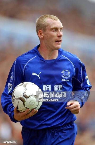 Tony Hibbert of Everton looks on during the game between Aston Villa and Everton on September 22, 2002 in Birmingham, England.