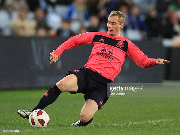 Tony Hibbert of Everton strugles to keep the ball in play during a pre-season friendly match between Sydney FC and Everton FC at ANZ Stadium on July...
