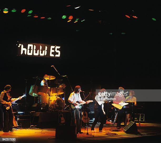 Tony Hicks Allan Clarke and Terry Sylvester of the Holies perform on stage circa 1979