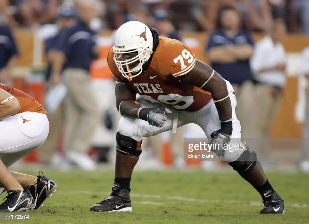Tony Hills of the Texas Longhorns gets ready on the field during the game against the Rice Owls on September 22 2007 at Darrell K RoyalTexas Memorial...