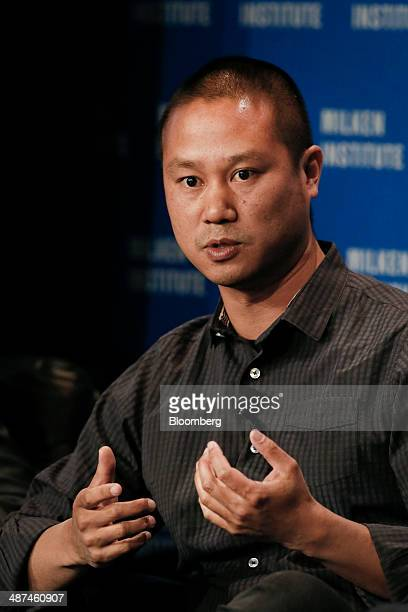 Tony Hsieh, chief executive officer of Zappos.com Inc., speaks at the annual Milken Institute Global Conference in Beverly Hills, California, U.S.,...