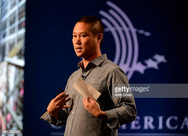 Tony Hsieh chief executive officer speaks at the closing plenary session of the Clinton Global Initiative America at the Sheridan Downtown Denver...
