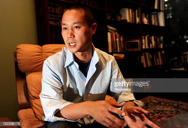 Tony Hsieh president founder and chief executive of Zapposcom Inc speaks during an interview in San Francisco California US on Thursday June 17 2010...