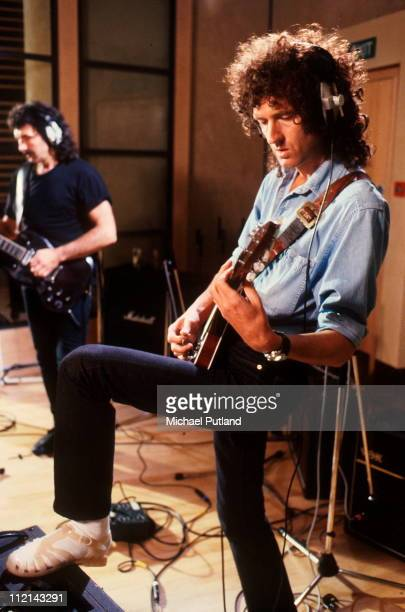 Tony Iommi and Brian May of Queen recording at Metropolis Studios in Chiswick London for Rock Aid Armenia the Armenian earthquake appeal 8th July 1989