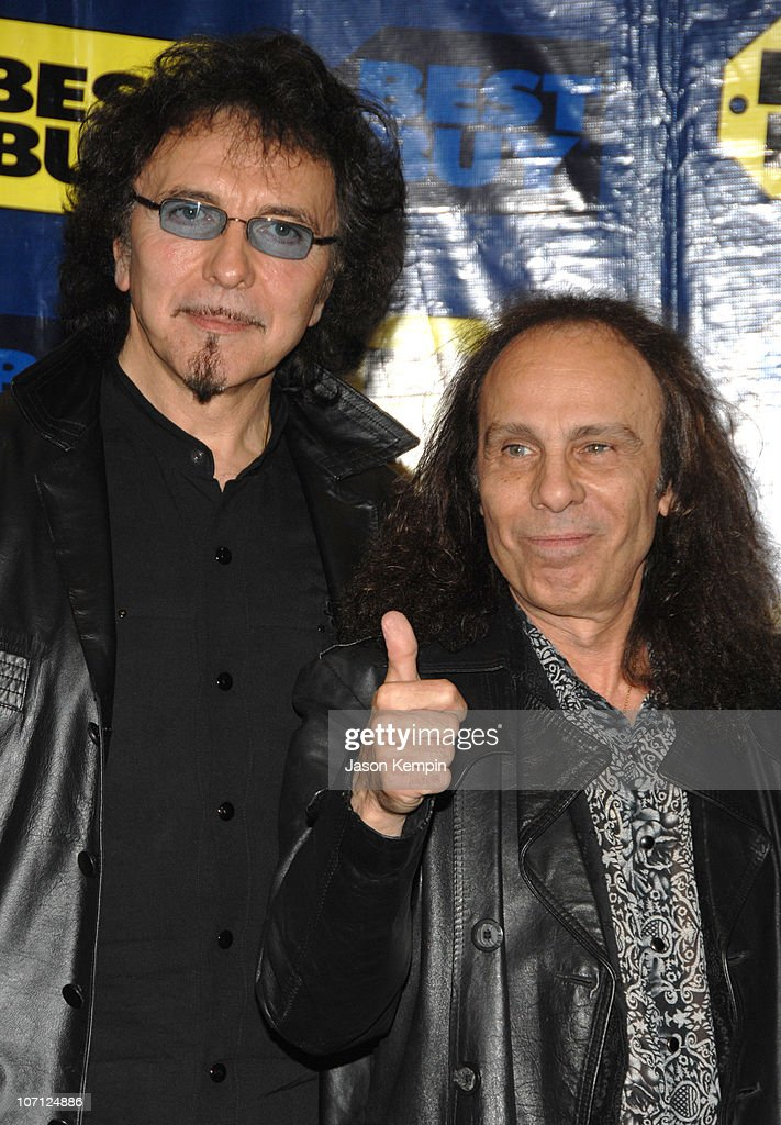 Tony Iommi and Ronnie James Dio during Black Sabbath In-Store Appearance For 'Heaven and Hell: The Dio Years' - April 3, 2007 at Best Buy - 5th Avenue in New York City, New York, United States.